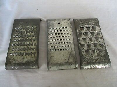 3 Pc Lot Antique Vintage Cheese Grater Kitchen Shredders