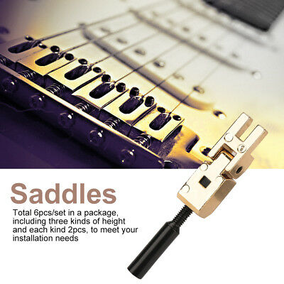 6x Roller Bridge Tremolo Saddles Wrench for Floyd Rose Tele Electric Guitar Gold
