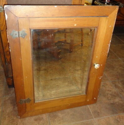 1920's Wooden Medicine Cabinet Beveled Mirror Bathroom