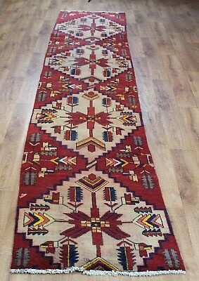 Old Wool Hand Made Persian  Oriental Floral Runner Area Rug Carpet 380X 75 Cm