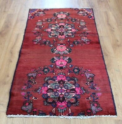 Old Wool Hand Made Persian  Oriental Floral Runner Area Rug Carpet 162X 76Cm