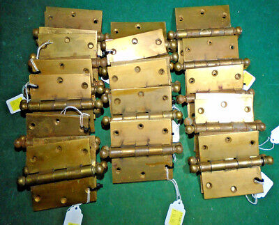 ONE PAIR VINTAGE STANLEY BRASS PLATED CANNON BALL HINGES 3 1/2 x 3 1/2   (11148)