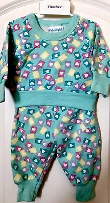 VTG 80s 90s FISHER PRICE Hearts AllOver Sweatshirt Sweatpants PASTELS 6MO EUC