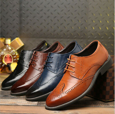 Mens Leather Brogues Smart Formal Office Casual Lace Up Oxford Brogue Shoes Size