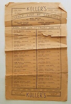 1930s Koller's Grocery Store Weekly Specials List Chilton Wisconsin Vintage WI