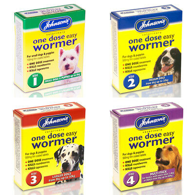 Johnsons One Dose Easy Wormer for Dog Roundworm Tapeworm Dogs Worming Tablets