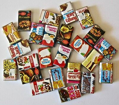 24 piece Miniature Vintage Food Boxes Dollhouse Jewelry Making