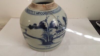 Chinese Porcelain Blue and White Ginger Jar Hand Decorated 19th century Qing