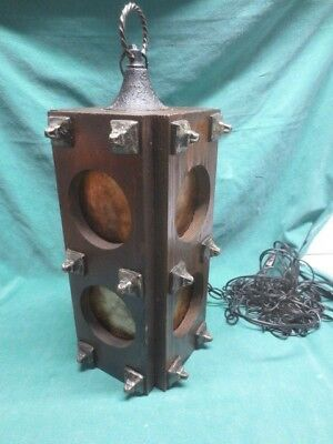 Vtg Gothic Wood & Metal Chain Swag Lamp Light Mica Shade Inserts Stop Light