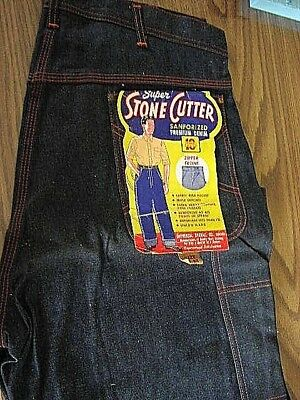 """VINTAGE 1940s STONE CUTTER DENIM CARPENTER JEANS 38"""" x 30"""" UNIVERSAL OVERALL CO"""