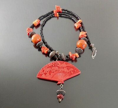 Carol Kent Studios Statement Necklace Red Coral Stone Silver Beads Pendant NWT