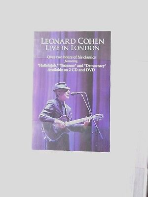 """X          LEONARD COHEN-LIVE IN LONDON-POSTER- promotional 2006-11 x 17"""" rolled"""