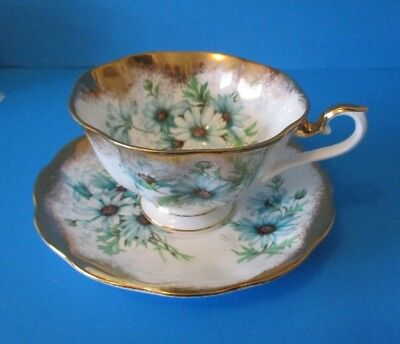 Royal Albert Cup & Saucer  Heavy Gold Light Blue Flowers Excellent Condition