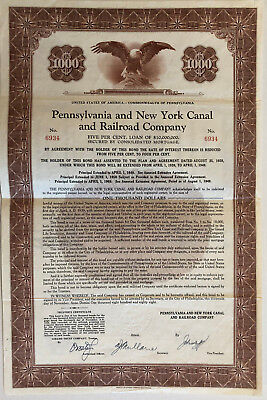 1888 Pennsylvania and New York Canal and Railroad Co > $1,000 bond certificate