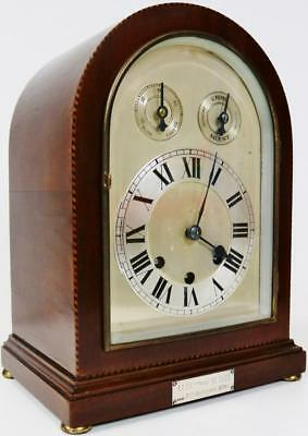Antique German 8 Day Mahogany Musical Westminster 1/4 Chiming Bracket Clock