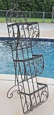 "Large Vintage 52"" Wrought Iron 3 Tier Indoor Outdoor Plant Stand Rack 3077"