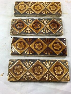 "4 Available - Providential Tile Works Trenton NJ Design F4 Antique 6""x2"""