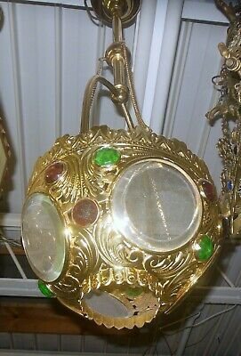 ANTIQUE JEWEL BRASS Hanging Light Fixture Rewired Victorian