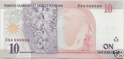 TURKEY 10 LIRA FANCY SERIAL SOLID # 888888  RARE UNIQUE NOTE LUCKY NUMBERS 8's