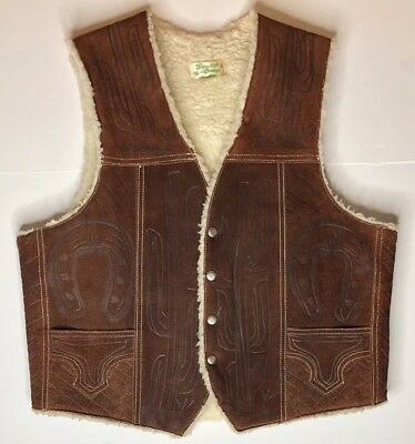 Vintage Brown Leather Embossed Southwestern Faux Sherpa Lined Vest Deer Cactus
