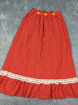 Vintage Toddler Girls 1970s Red Yellow Floral Fall Maxi Skirt