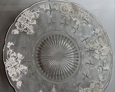 """Vintage Glass & Sterling Silver Overlay Tray Round Cake Plate Platter 11"""" Lot#1"""