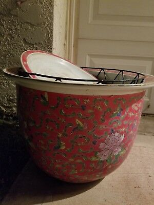 Large Heavy Vintage Asian Planter Pot With Bottom Plate Rare Expensive