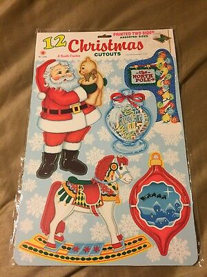 Vtg Nip Beistle 12 Christmas Cut Outs (2 Sided)