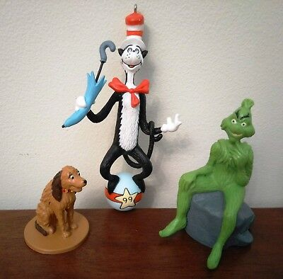 Dr. Seuss Cat In The Hat 1999 Hallmark Ornament & Grinch With Dog Max Figures