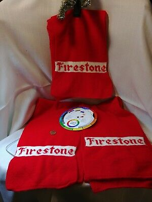 """1 Vintage Firestone Racing Sweater Knit Scarf Red White 7"""" x 57"""" or 66"""" Rare EUC"""