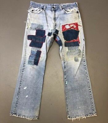 Vtg Levis 517 Jeans 38x32 Workwear Distressed Trashed Patches Holes Destroyed