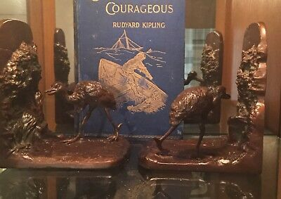vintage  Judd bookends,water fowl circa 1925, painted cast iron,
