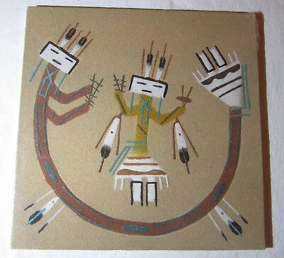 """Native Indian Sand Art Painting Signed by Artist  8"""" x 8"""""""