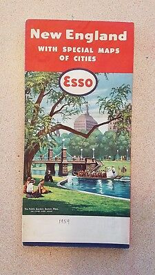 Vintage Fold Out Road Map - New England with Cities - Esso Gasoline Dealers