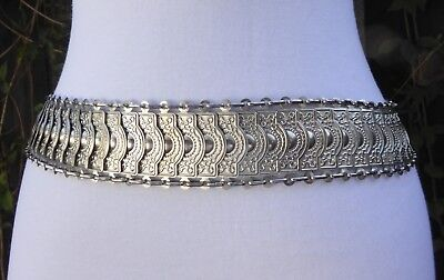 "Vtg Ornate Silver Tone Metal Fish Scale Style Embossed Chain Belt 49"" long"