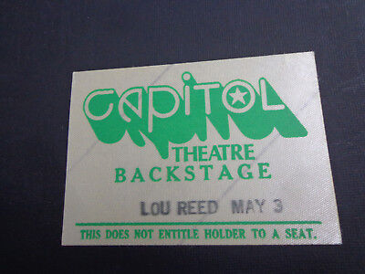 !    LOU REED-MAY 3- -CONCERT BACKSTAGE PASS- CAPITOL THEATRE-NJ-1970's MINT