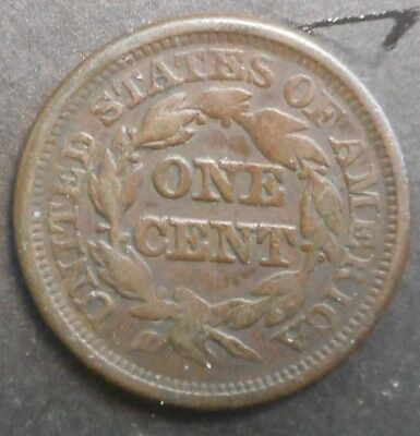 United States US 1846 Braided Hair One Cent Coin Nice