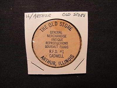Arthur, Illinois Wooden Nickel token - The Old Store Wooden Nickel Coin-Antiques