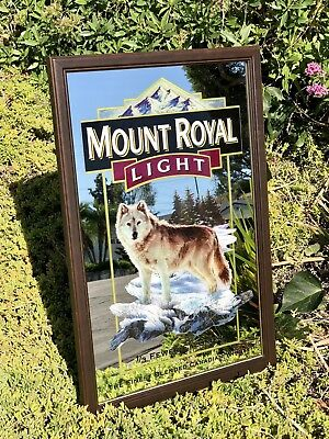 """Mount Royal Light Wolf Outdoors Wildlife Beer Bar Pub Man Cave  Mirror Sign """"New"""