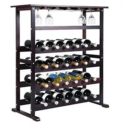 24 Bottle Wine Rack Storage Wood Holder Bottle Display Wooden Cabinet Shelf