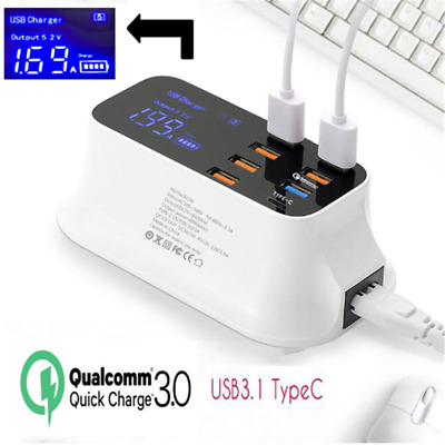 8-Ports USB Power Adapter LED Display Station Type C Fast Charge Wall Charger