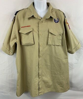 BSA Boy Scouts Of America Short Sleeve Adult (XL) Button Down Shirt With Patches