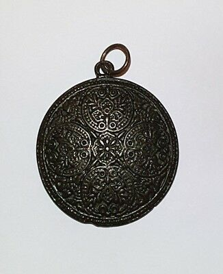 Vintage necklace pendant medallion antique brass ethnic tribal engraved jewelry