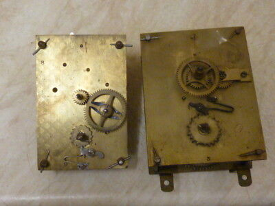 2 Old--Antique Bracket Type Clock Movements---Spares Or Repair