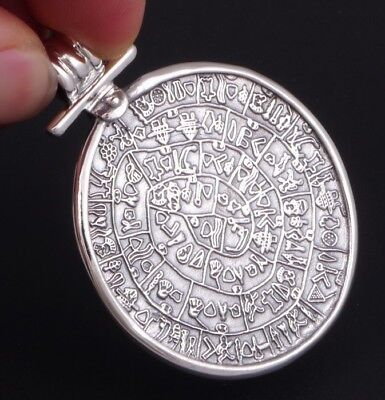 16g ANCIENT MYTHICAL Phaistos Disc GREEK 925 STERLING SILVER MENS WOMENS PENDANT