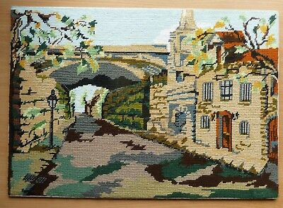 Needlepoint Completed Tapestry Austrian Village Scene Vgc.