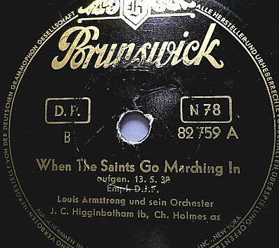 """LOUIS ARMSTRONG """"When The Saints Go Marching In  / Bye And Bye"""" Bruswick 1953"""