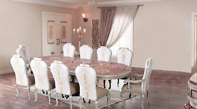 11 Pc Formal European Furniture Luxury Dining Set Expandable Table Antique Style