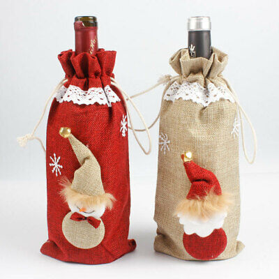 2x Christmas Burlap Hessian Wine Bottle Drink Cover Bags Santa Snowman Xmas Gift