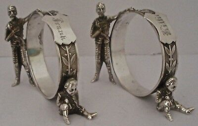 Pair Of American Aesthetic Movement Figural Sterling Napkin Rings 2.8 Ozt 1870
